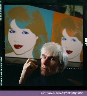 Andy Warhol with painting of Pia Zadora